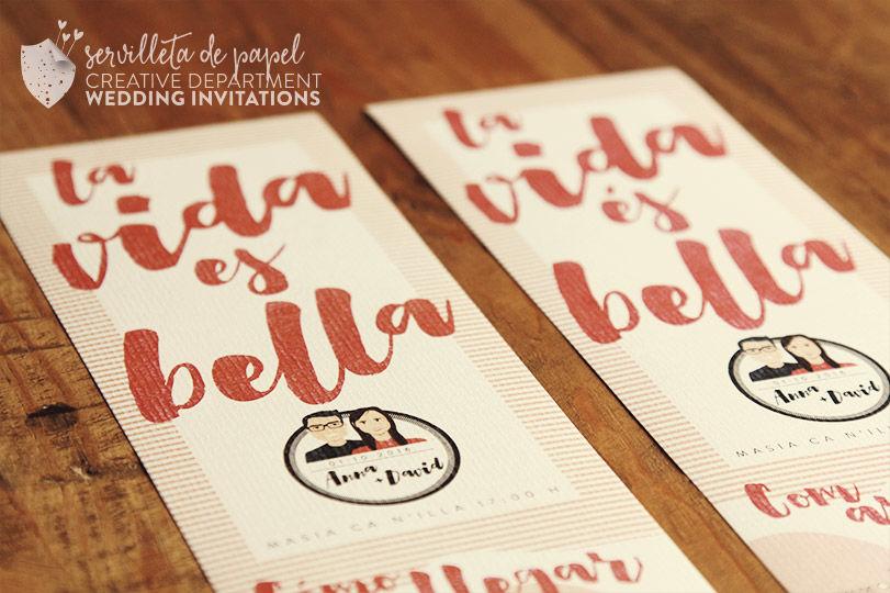Invitación de boda Anna + David   www.servilletadepapel.es