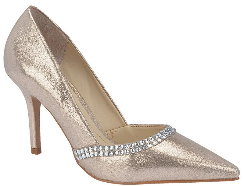 Sapato de Festa Sola Clássica Salto 9cm - Brilhantina Champagne Ref.10248