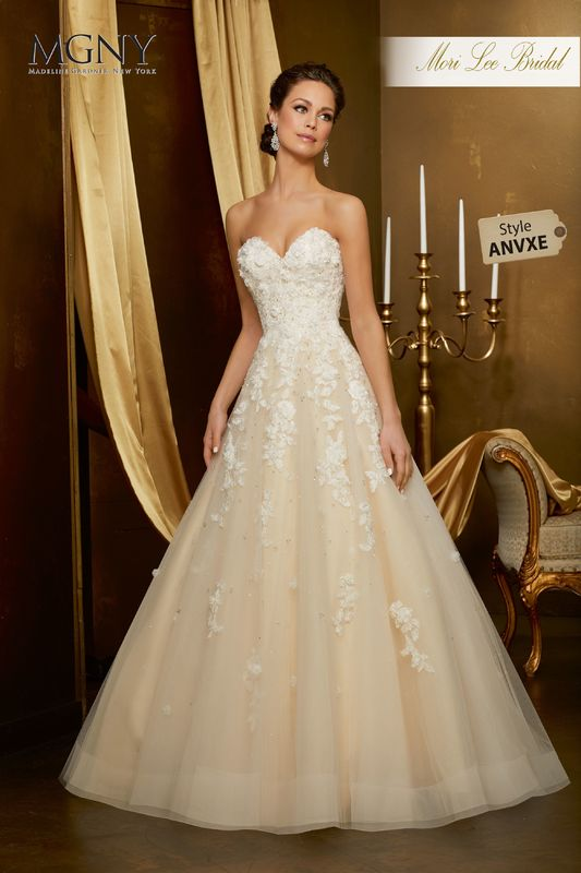 Style ANVXE Orella  Crystal beaded, hand-cut, three dimensional floral embroidery on a tulle ball gown