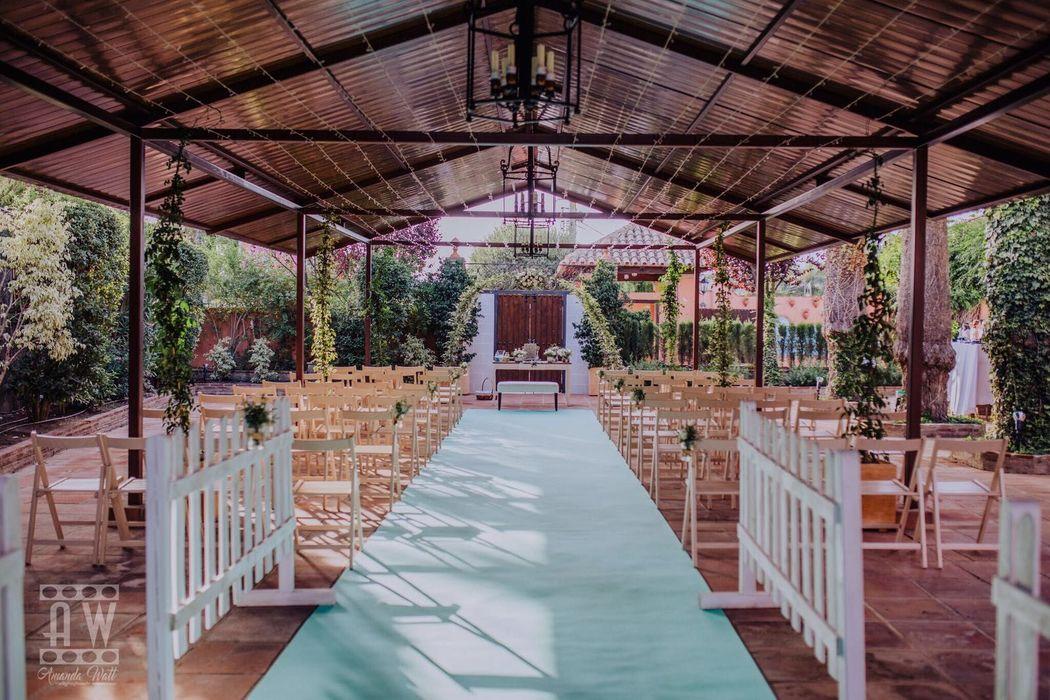 Ceremonia en porche bohemio