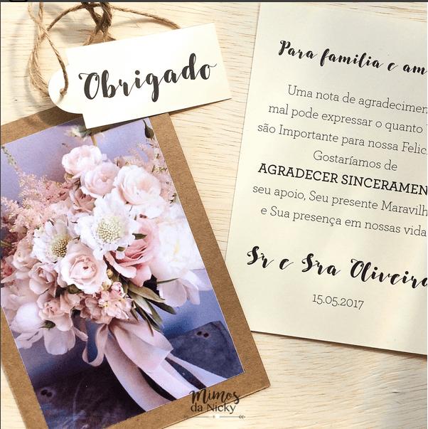 Papelaria, cartão lembrança lembrança de casamento ou agradecimento de recebidos