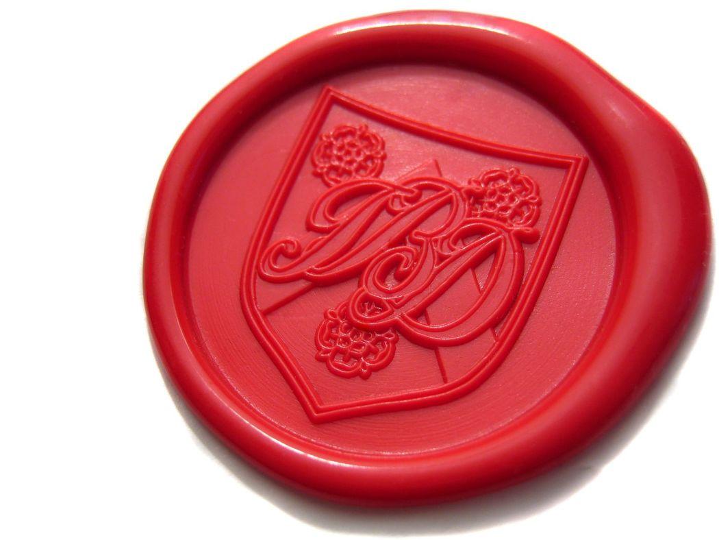 Sello de lacre rojo + escudo heráldico (30mm).  www.royallacre.com