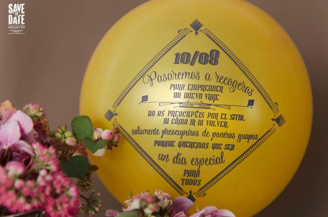 Globo incluido en la invitación de boda personalizada.