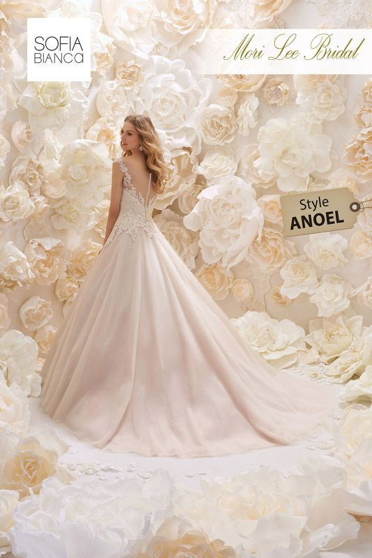 Style ANOEL ALENCON LACE APPLIQUES WITH CRYSTAL BEADING OVER CHANTILLY LACE ON A TULLE BALL GOWN      COLOURS WHITE, IVORY OR IVORY / ROSA