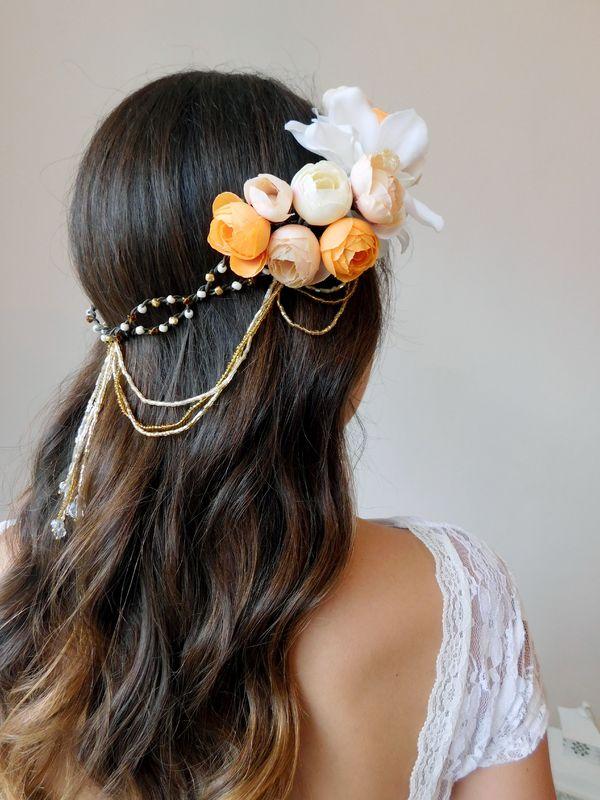 Corona flores damasco