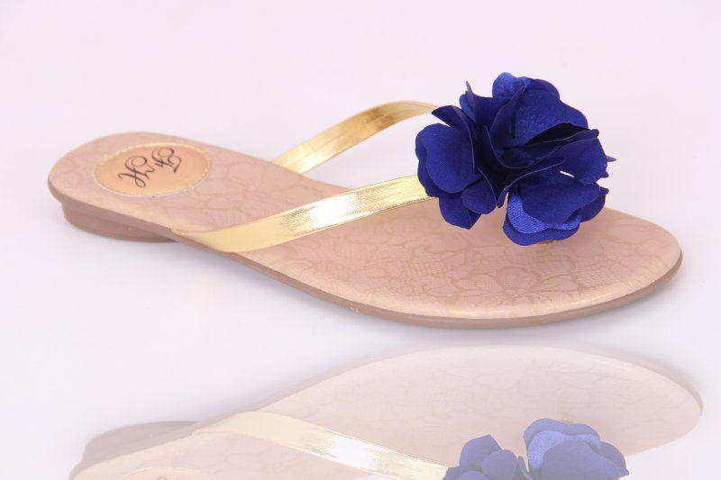 Slim Fashion Dourada com Flor Azul