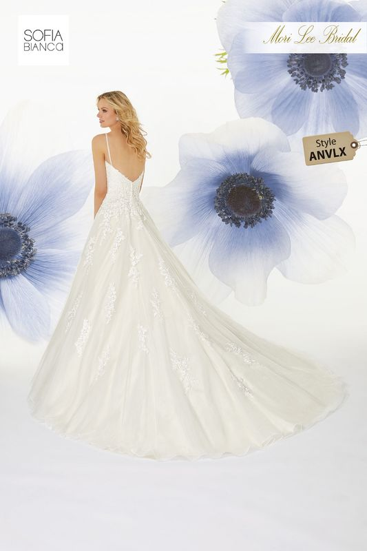 Style ANVLX Sheridan  Diamanté and crystal beaded trim on a tulle ball gown with venice lace appliqués