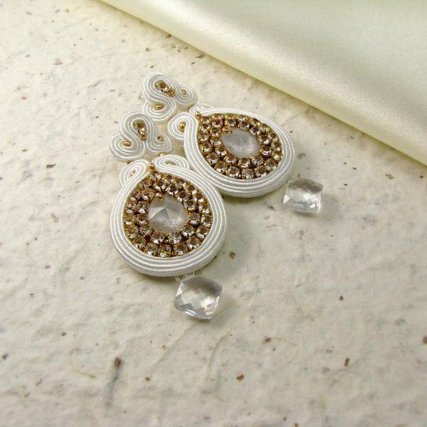 Małgorzata Sowa - PiLLow Design, Biżuteria ślubna sutasz. Kolczyki - kryształ górski, kryształy Swarovski, srebro