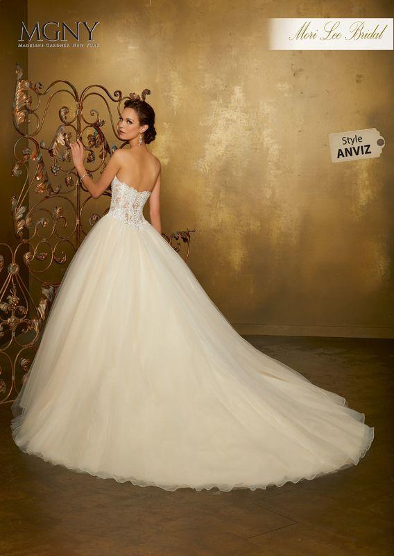 Style ANVIZ Obdulia  Diamanté and crystal beaded alençon lace appliqués on a boned, corset bodice with tulle ball gown skirt