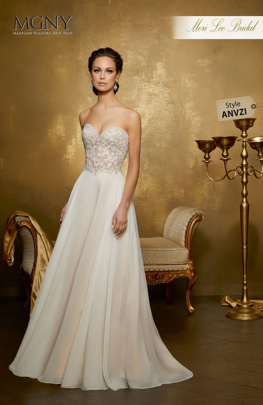 Style ANVZI Ostara  Crystal and diamanté beaded bodice with embroidery meets flowing, soft chiffon skirt  Matching satin bodice lining included