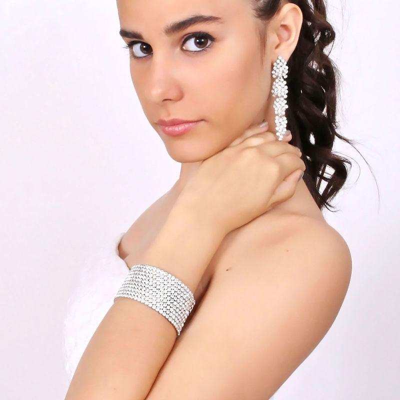 Arya Italian Jewels - Gioielli Sposa e Matrimonio - Orecchini lunghi e bracciale con strass Swarovski