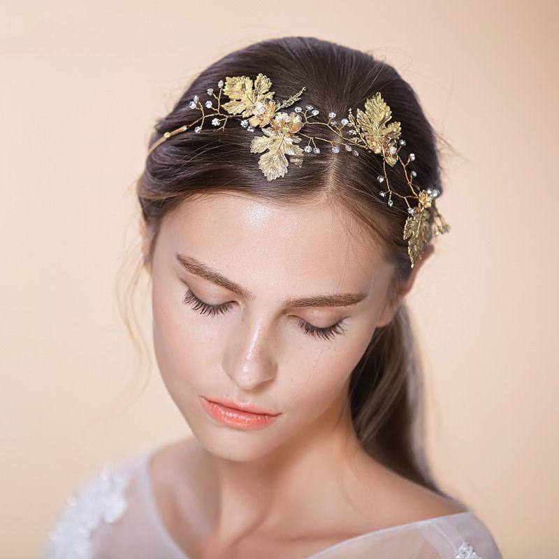 headband mariage vigne or feuille et perles bohème chic