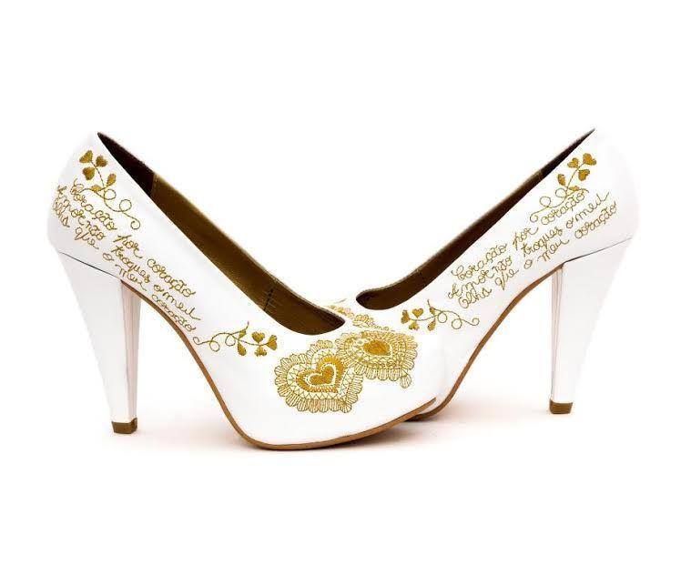Sapatos Namorar Portugal Flor de Liz - Branco - Ouro