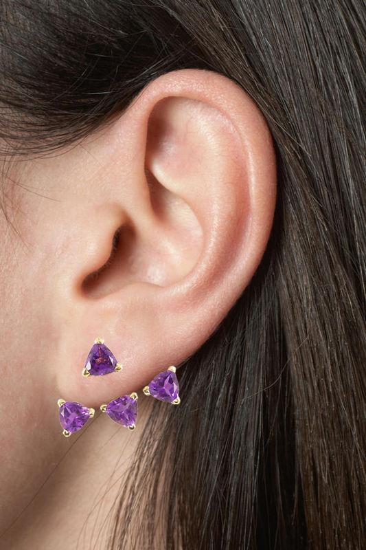 Ear cuff Vermeil rosa-amatistas