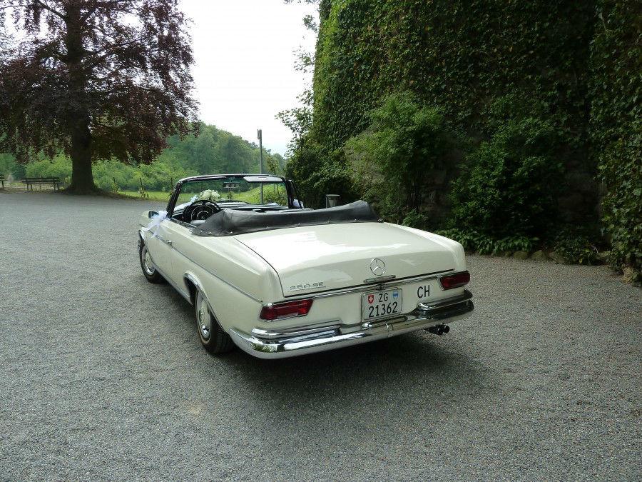 Beispiel: Mercedes Benz 250 SE, Foto: Die Hochzeitsfahrt.