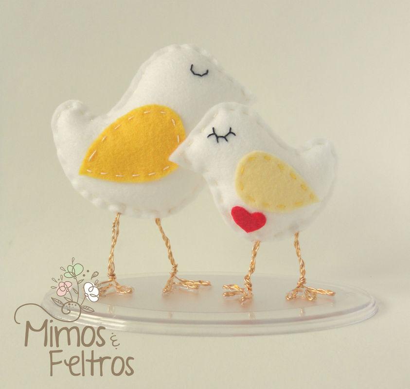 Love Birds Topo de Bolo (Amarelo)