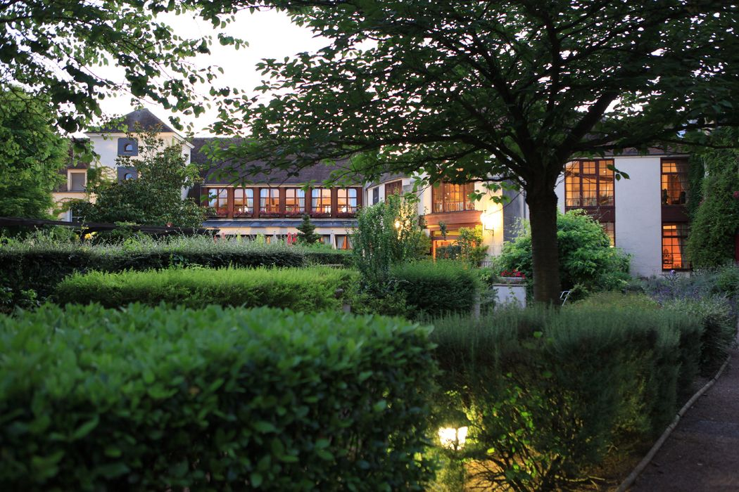 vue salle Manoir jardin