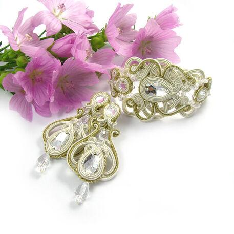 Komplet ślubny sutasz ivory & złoto, kamienie Swarovski, kryształ górski.  www.pillowdesign.pl