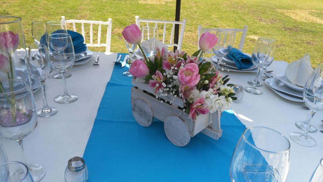 Carreta con tulipanes