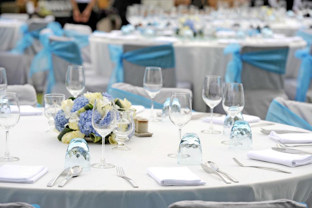 Detalle de la mesa de una boda
