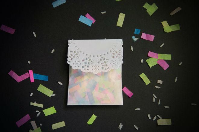 Saquinho de confettis para os convidados à saída da cerimónia, de um dos casamentos organizados