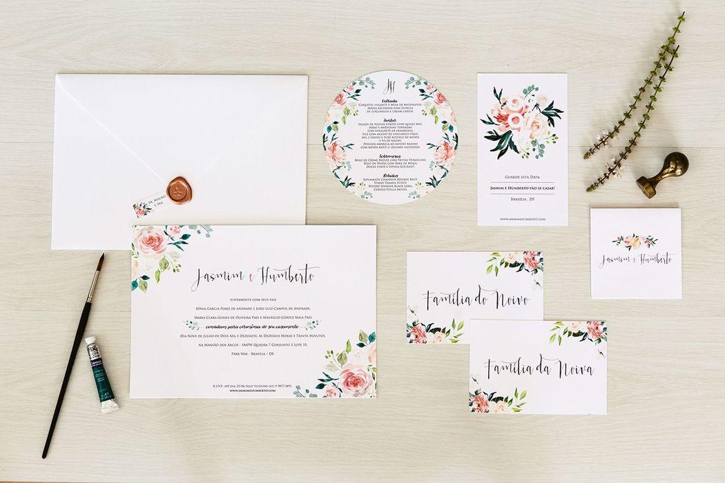 Convite Floral em Aquarela