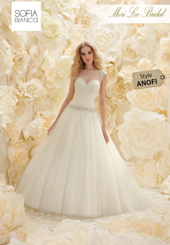 Style ANOFI A DRAPED SOFT TULLE BALL GOWN AND BODICE WITH BEADED WAISTBAND, SHOULDERS AND ILLUSION BACK   COLOURS WHITE / SILVER OR CREAM / SILVER