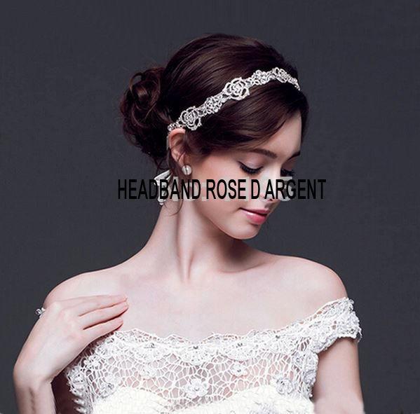 headband mariage rose d'argent en m