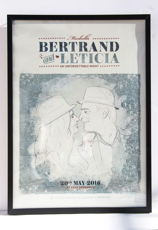 Cartel ilustrado de pareja (Leticia y Bertrand). Autor: Sr. Sleepless para Loveratory.