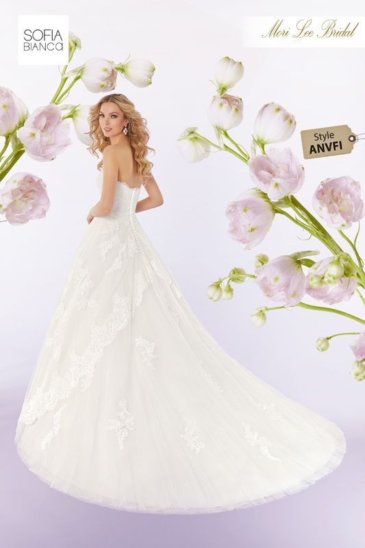 Style ANVFI Summer  Frosted lace appliqués on a soft tulle ball gown with hemlace