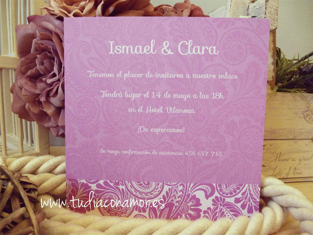 Invitación de boda púrpura bonita y original