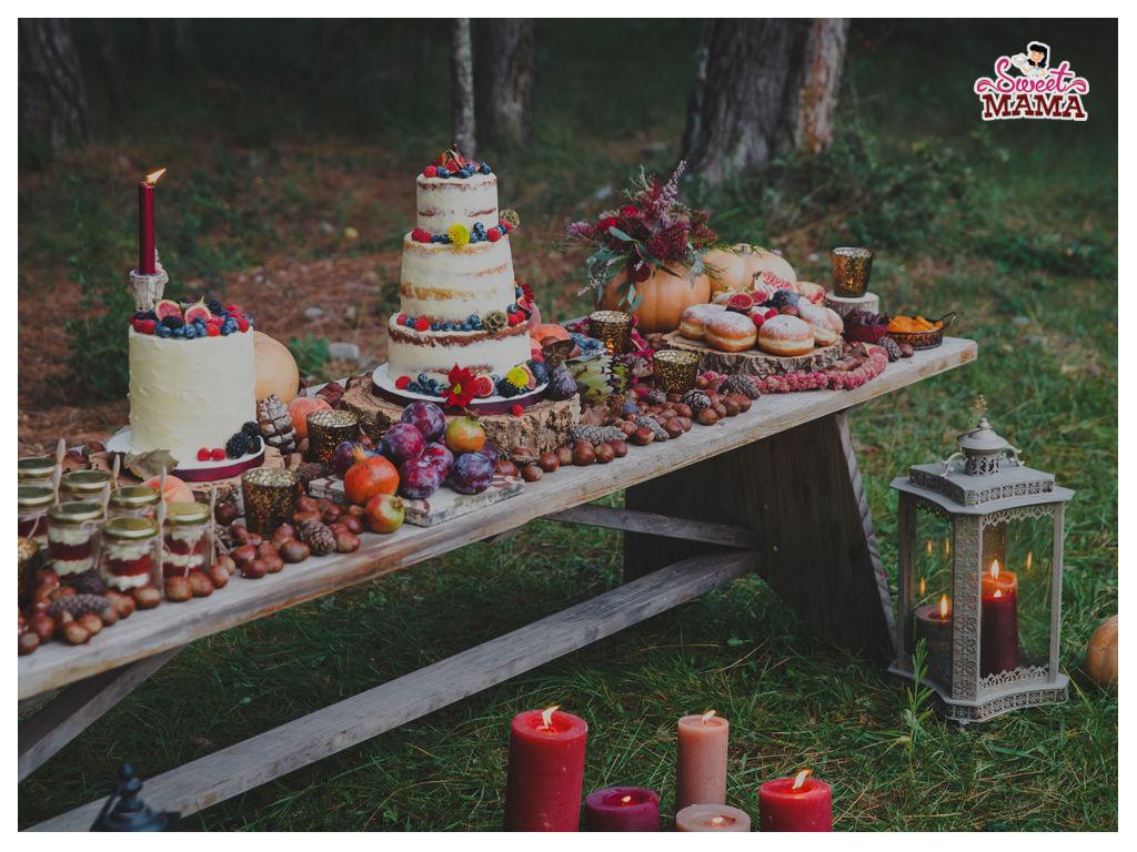 Mesa dulce rústica otoño. Foto: Wedding's Art.