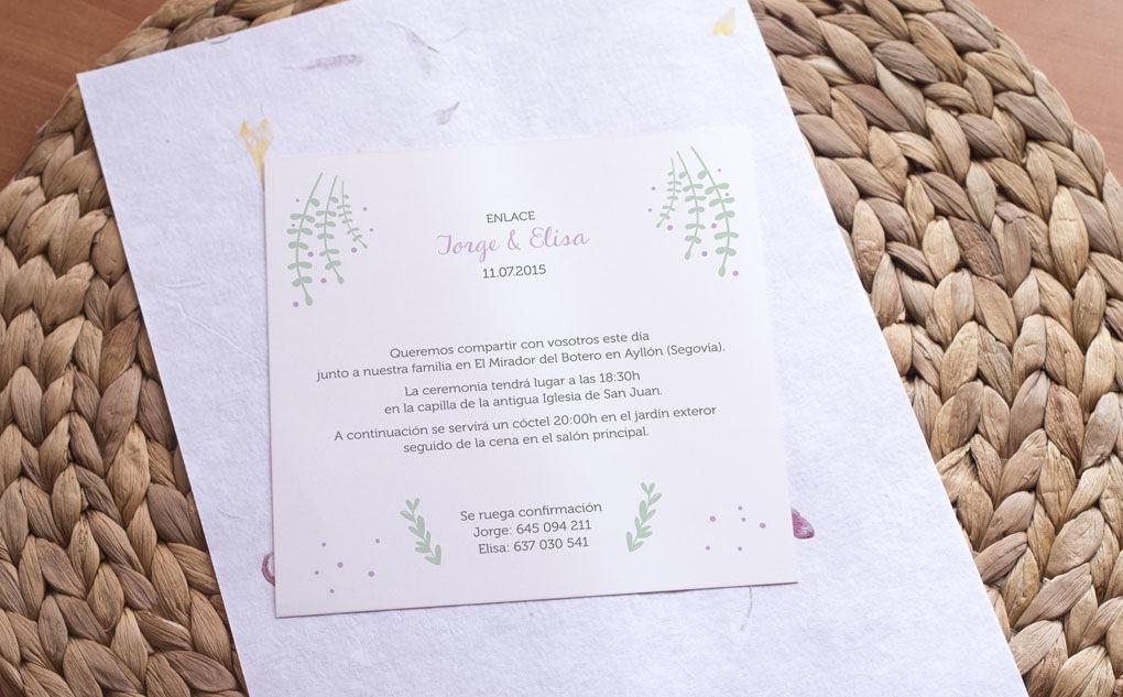 Invitación cuadrada motivo naturaleza