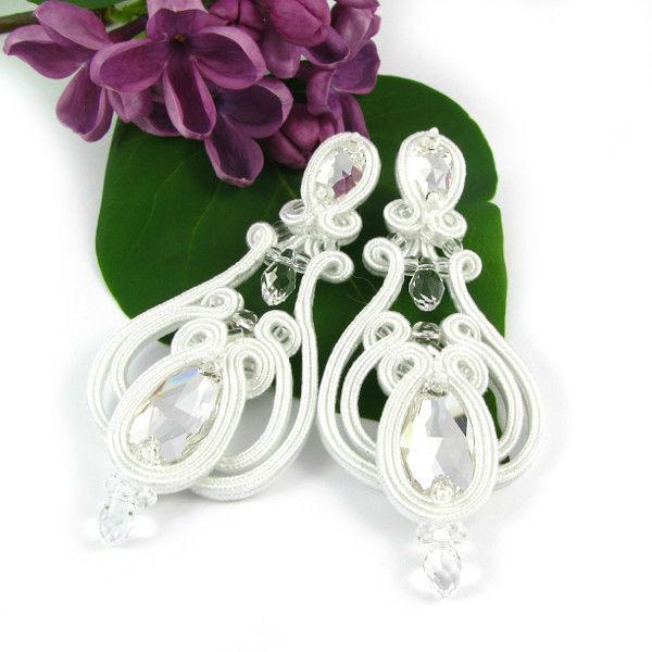 Małgorzata Sowa - PiLLow Design Kolczyki ślubne z kryształami Swarovski, śnieżna biel.