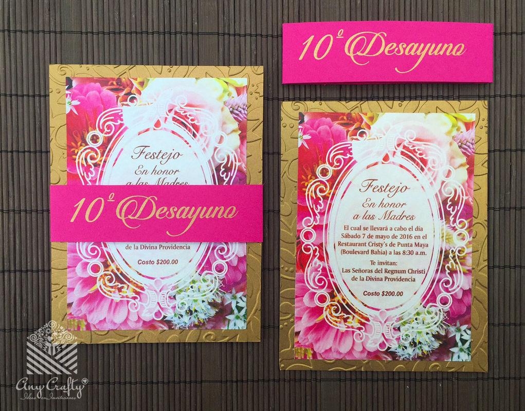 Invitación floral oro