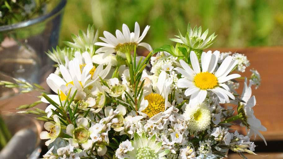 Beispiel: Brautstrauß aus Margeriten, Foto: Blumen Isabella.