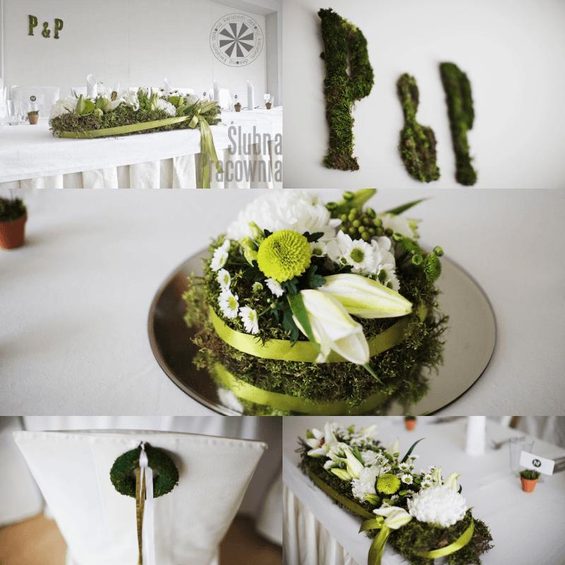 Dekoracje weselne z motywem mchu