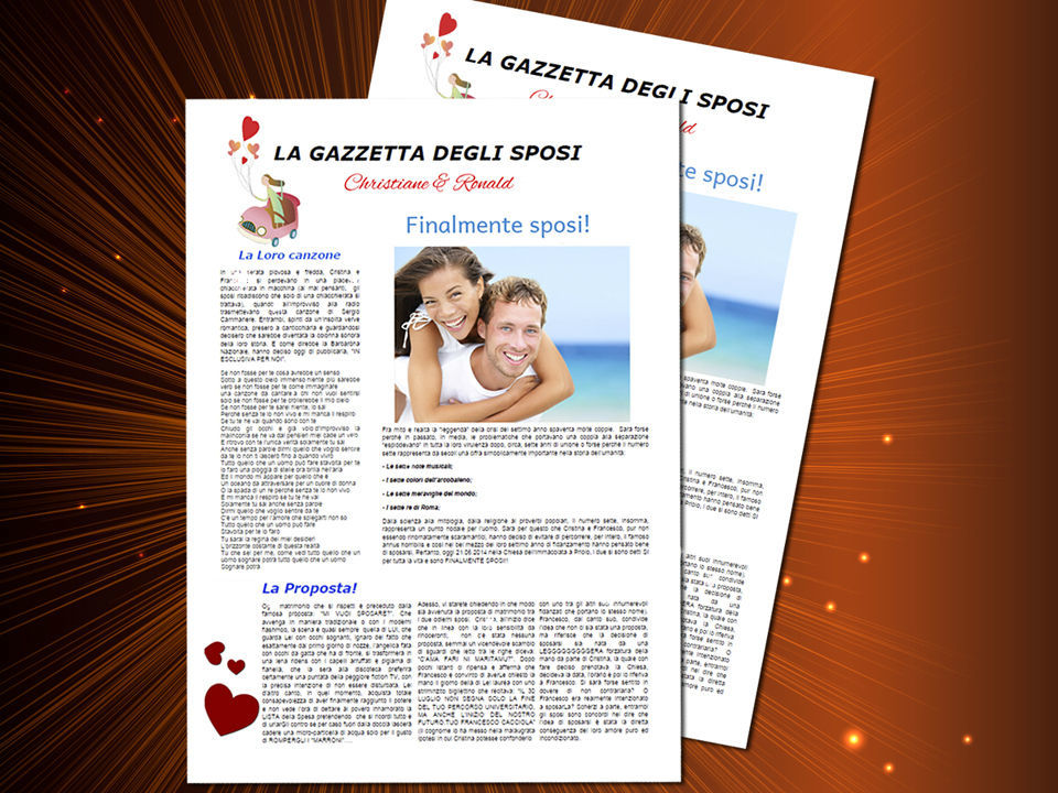 La gazzetta degli sposi è una rivista per la coppia nuziale e per gli ospiti, creata in occasione delle nozze dagli stessi sposi o da altre persone che partecipano alla cerimonia. http://www.schobuk.it/