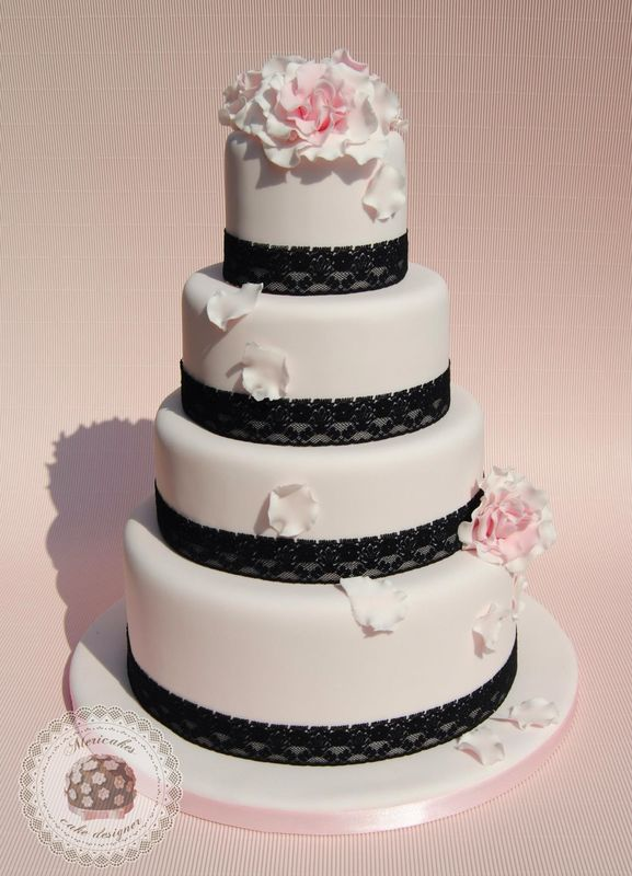 Pink in love wedding cake