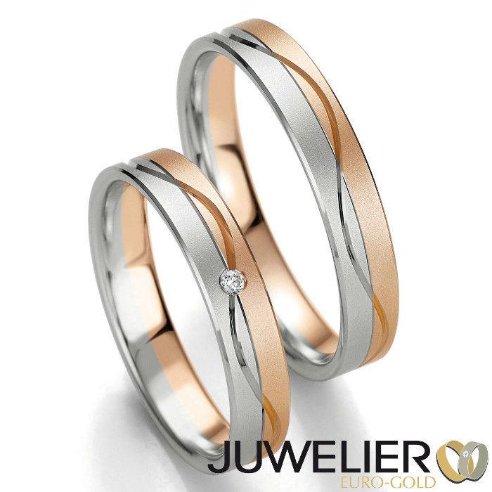 Beispiel: Mehrfarbige Trauringe, Foto: Juwelier Euro-Gold.