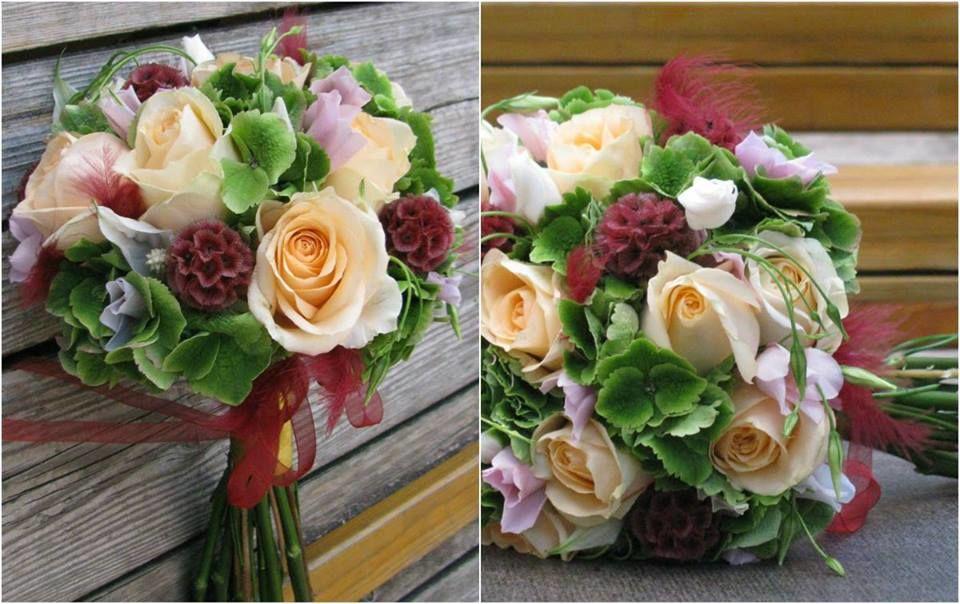 Bouquet de Noiva Hortense Verde Rosas Pêssego