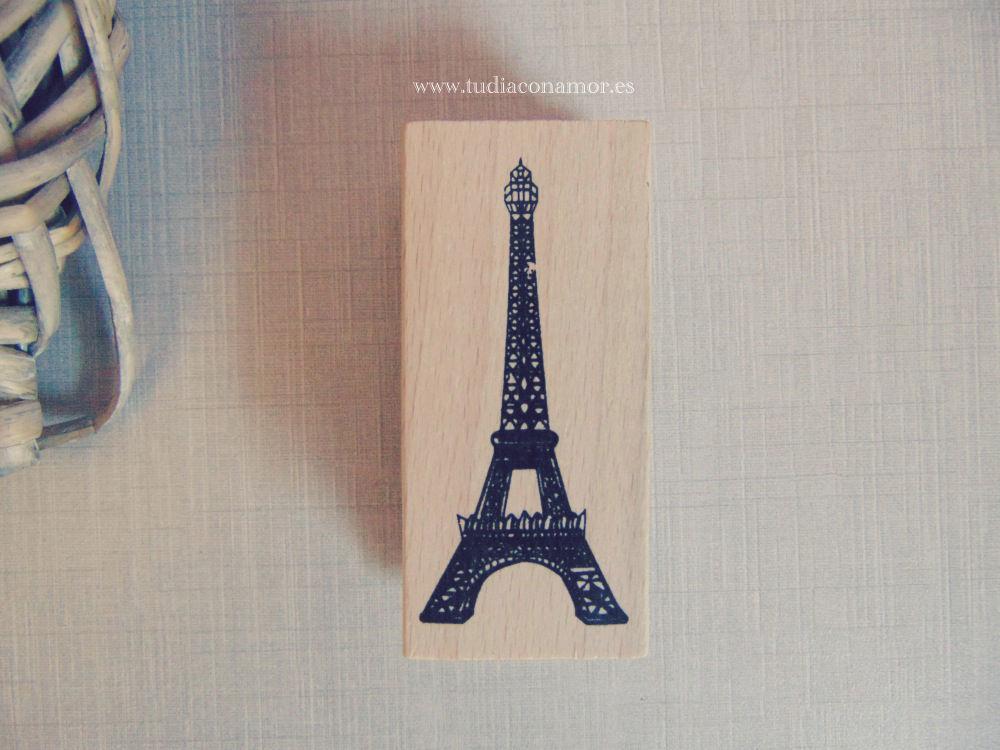 Sello de madera y caucho Torre Eiffel para scrapbook y DIY o manualidades de boda