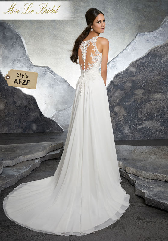 Style AFZF Keisha Wedding Dress  Timeless and Elegant, This Flowy Chiffon Bridal Gown Features a Crystal Beaded Bodice Embroidered Appliqué Detail Along the Illusion Neckline. An Illusion Back Trimmed in Covered Buttons Completes the Look. Colors Available: White, Ivory