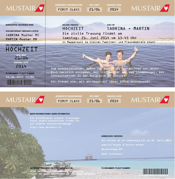 Hochzeitskarte lang 2-seitig, 21x10.5 cm.,  Vollfarbig. Foto: AKHOF-Print AG.