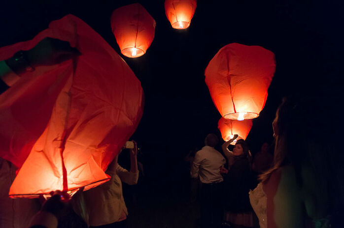 Lacher de lanternes thailandaises.