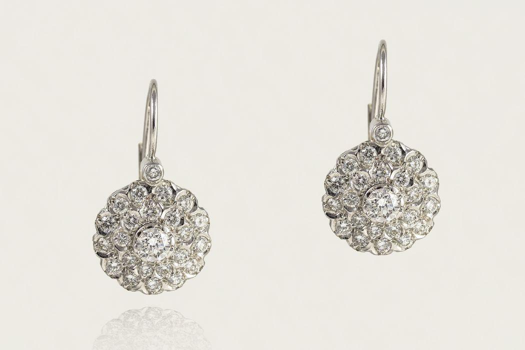 Pendientes de oro blanco y diamantes vintage