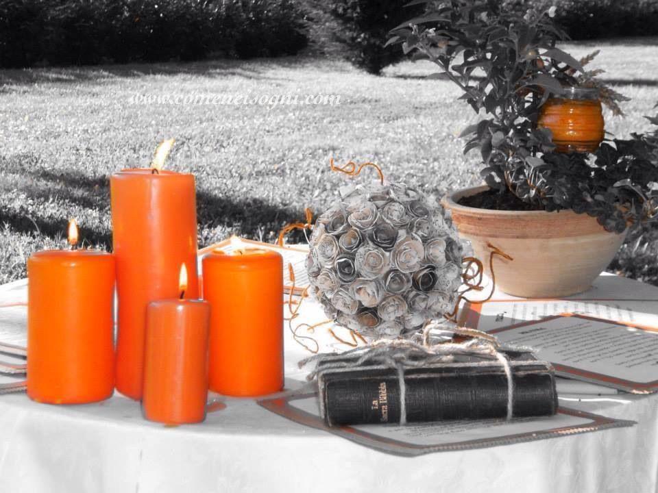 Tavolo pronto per la celebrazione del rito nuziale e del rito delle candele.