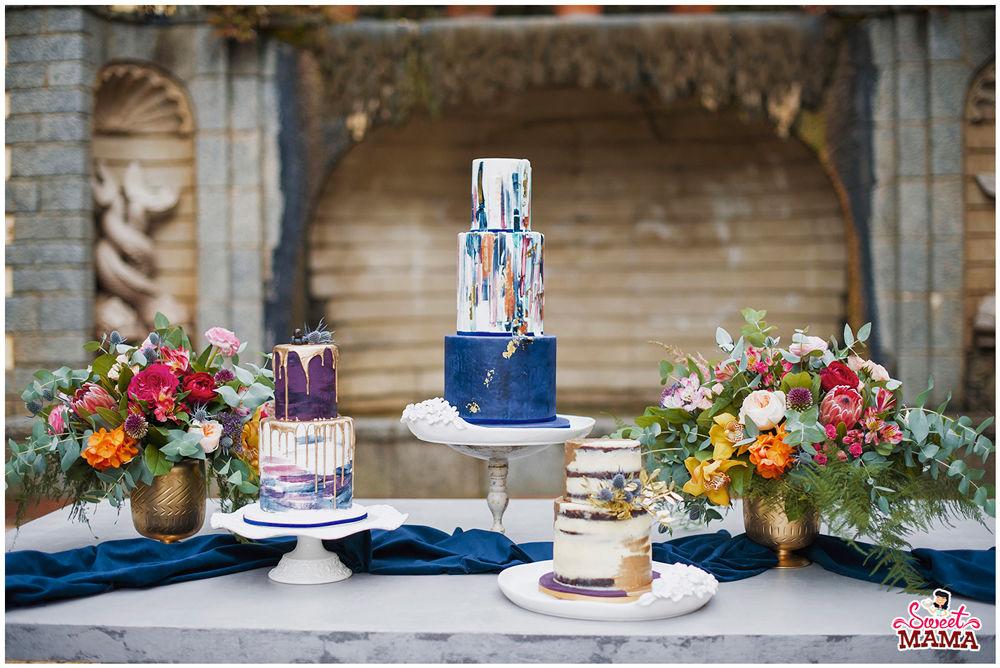Trío tartas en Oro y Azul. Foto: Say Cute!