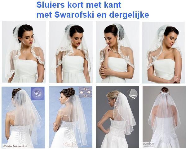 www.kristinabruidsmode.nl Korte sluiers onder andere met Swarofski en/of parels en dergelijke