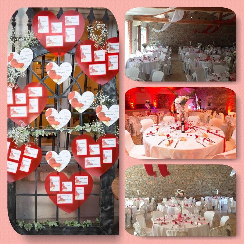 décoration de salle en dentelle rouge. création de plan de table, et de composition florale de centre de table.